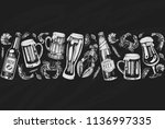 seamless pattern with beer and... | Shutterstock .eps vector #1136997335
