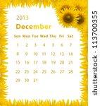 2013 Year Calendar  December...