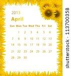2013 Year Calendar  April With...