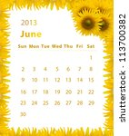 2013 Year Calendar  June With...