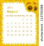 2013 Year Calendar  August Wit...