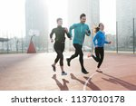 group of healthy sporty... | Shutterstock . vector #1137010178
