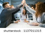 happy business people... | Shutterstock . vector #1137011315