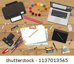 artist or designer workplace.... | Shutterstock .eps vector #1137013565