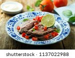 roast beef with fresh tomato... | Shutterstock . vector #1137022988