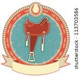 western saddle on label ... | Shutterstock .eps vector #113703586