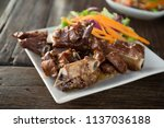 babeque pork on dish in... | Shutterstock . vector #1137036188