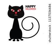 black cat. happy halloween.... | Shutterstock .eps vector #1137036686