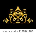 gold baroque frame scroll... | Shutterstock .eps vector #1137041708