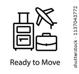 suitcase  baggage and airplane... | Shutterstock .eps vector #1137043772