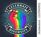 celebrate diversity. raised... | Shutterstock .eps vector #1137043952