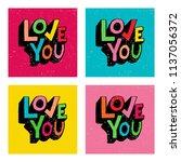 love you. phrase for valentine... | Shutterstock .eps vector #1137056372