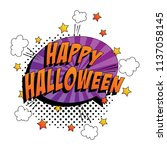 phrase happy halloween in pop... | Shutterstock .eps vector #1137058145