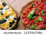 italian cuisine  bruschetta | Shutterstock . vector #1137067586