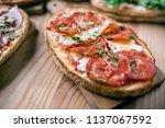 italian cuisine  bruschetta | Shutterstock . vector #1137067592