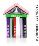 school building made of books   Shutterstock . vector #113707762