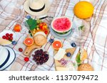 summer picnic basket on the...   Shutterstock . vector #1137079472