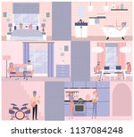 flat illustration on different... | Shutterstock .eps vector #1137084248