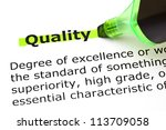 definition of the word quality... | Shutterstock . vector #113709058
