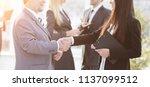assistant meets a businessman... | Shutterstock . vector #1137099512