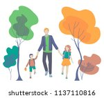 father  son and daughter go... | Shutterstock .eps vector #1137110816