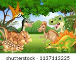 cartoon happy dinosaurs living... | Shutterstock .eps vector #1137113225
