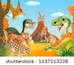 cartoon happy dinosaurs with... | Shutterstock .eps vector #1137113228