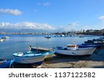 fishing port on the waterfront... | Shutterstock . vector #1137122582