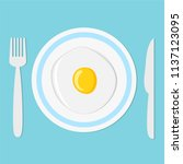 fried egg on plate with fork... | Shutterstock .eps vector #1137123095