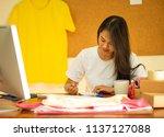 online seller business woman...   Shutterstock . vector #1137127088