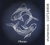 pisces  fishes  zodiac sign.... | Shutterstock .eps vector #1137130838