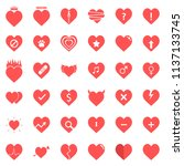heart icons set in vector... | Shutterstock .eps vector #1137133745
