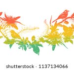 seamless border with tropical... | Shutterstock .eps vector #1137134066