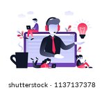 concept customer and operator ... | Shutterstock .eps vector #1137137378