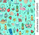 seamless pattern with summer... | Shutterstock .eps vector #1137140045