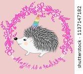 a cute cartoon hedgehog with a... | Shutterstock . vector #1137147182