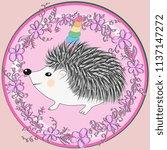a cute cartoon hedgehog with a... | Shutterstock . vector #1137147272