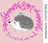 a cute cartoon hedgehog with a... | Shutterstock . vector #1137147302