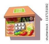 various ingredients meal kit in ... | Shutterstock .eps vector #1137151082