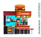 Modern Small Burger Shop On Th...