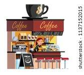 smiling sales clerk woman at... | Shutterstock .eps vector #1137152015