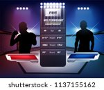Stock vector empty cage and battle martial arts fighting arena stage with red and blue white lighting mma 1137155162