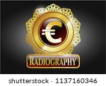 gold badge or emblem with euro ... | Shutterstock .eps vector #1137160346