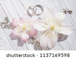 wedding concept with flower on... | Shutterstock . vector #1137169598