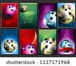 bowling poster set. empty... | Shutterstock . vector #1137171968