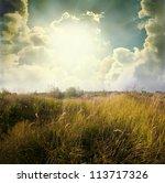 Green Meadow Under Blue Sky...