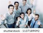 closeup portrait of six joyful... | Shutterstock . vector #1137189092