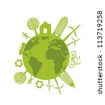 ecology sign with people and... | Shutterstock .eps vector #113719258