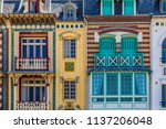facade of colorful houses in... | Shutterstock . vector #1137206048