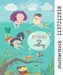 happy children swimming on sea. ...   Shutterstock .eps vector #1137212318